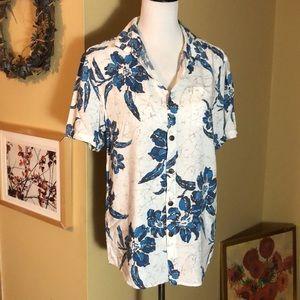 VTG BILLABONG size Medium Hawaiian Shirt Wood Btn